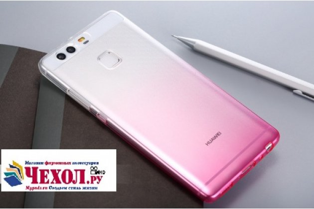 """Фирменная ультра-тонкая полимерная задняя панель-чехол-накладка из силикона для  Huawei P9 + Plus (VIE-AL10 ) 5.5""""  прозрачная с эффектом грозы"""