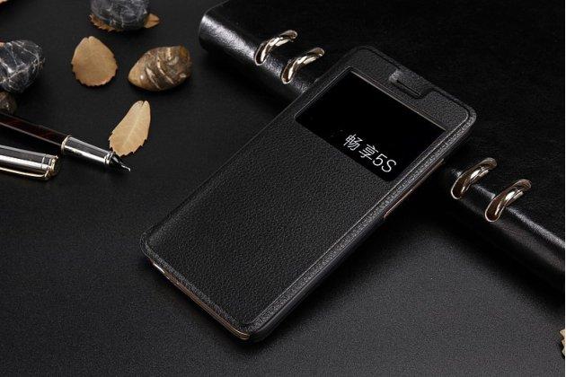 Фирменный оригинальный чехол-книжка для Huawei P9 / G8 mini / Huawei Enjoy 5S черный с окошком для входящих вызовов водоотталкивающий