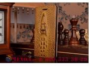 Фирменный роскошный эксклюзивный чехол с объёмным 3D изображением кожи крокодила коричневый для  Huawei G8 min..