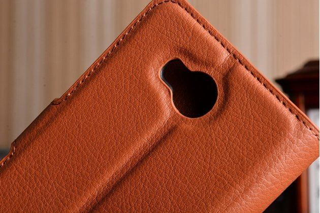 """Фирменный чехол-книжка из качественной импортной кожи с подставкой застёжкой и визитницей для Хуавей У3 2(II)/ У3 2(II) ЛТЕ (ЛУА-Л21) 4.5 """" коричневый"""