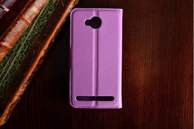 """Фирменный чехол-книжка из качественной импортной кожи с подставкой застёжкой и визитницей для Хуавей У3 2(II)/ У3 2(II) ЛТЕ (ЛУА-Л21) 4.5 """" фиолетовый"""