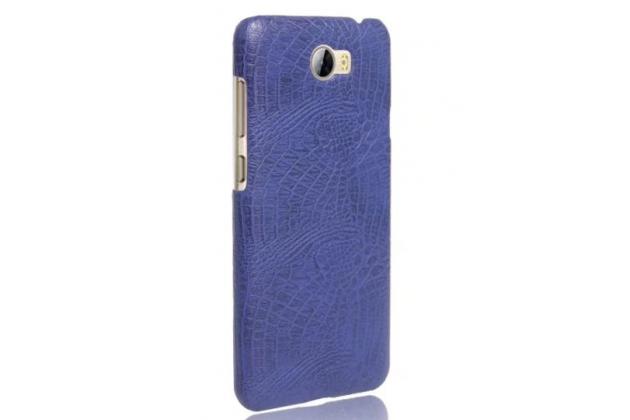Фирменный чехол с фактурной прошивкой рельефа кожи крокодила синий для Huawei Y3 2(II)/ Y3 2(II) LTE (LUA-L21) 4.5.