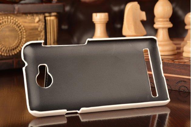 """Фирменная роскошная элитная премиальная задняя панель-крышка для Huawei Y3 2(II)/ Y3 2(II) LTE (LUA-L21) 4.5"""" из качественной кожи буйвола с визитницей белая"""