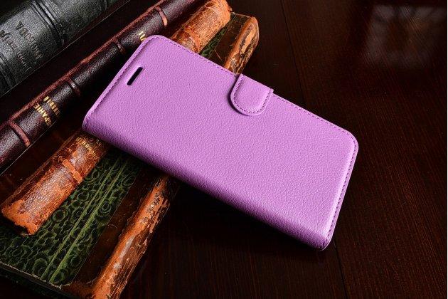 """Фирменный чехол-книжка из качественной импортной кожи с подставкой застёжкой и визитницей для Huawei Y5 2 (II) LTE / Huawei Honor 5A 5.0""""( LYO-L21) фиолетовый"""