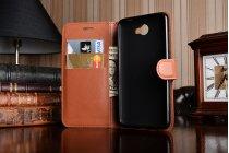 """Фирменный чехол-книжка из качественной импортной кожи с подставкой застёжкой и визитницей для Huawei Y5 2 (II) LTE / Huawei Honor 5A 5.0""""( LYO-L21) коричневый"""