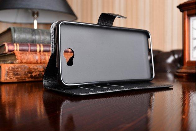 """Фирменный чехол-книжка из качественной импортной кожи с подставкой застёжкой и визитницей для Huawei Y5 2 (II) LTE / Huawei Honor 5A 5.0""""( LYO-L21) черный"""