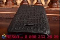 Элитная задняя панель-крышка премиум-класса из тончайшего и прочного пластика обтянутого кожей крокодила для Huawei Ascend Y541/Y5C/Honor Bee брутальный черный