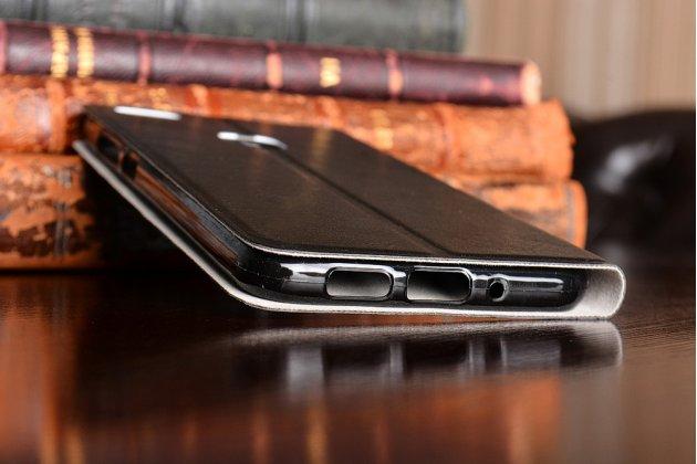 Фирменный чехол-книжка из качественной водоотталкивающей импортной кожи на жёсткой металлической основе для Huawei P10 Lite  черный