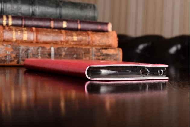 Фирменный чехол-книжка из качественной водоотталкивающей импортной кожи на жёсткой металлической основе для Huawei P10 Lite/Nova Lite розовый