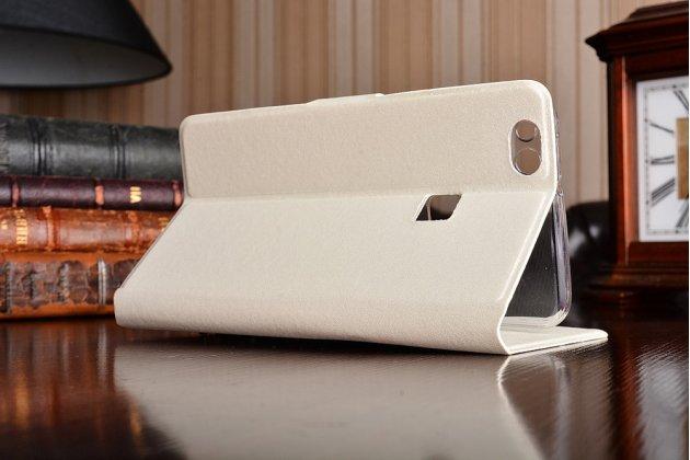 Фирменный роскошный чехол-книжка безумно красивый декорированный бусинками и кристаликами на Huawei P10 Lite  белый
