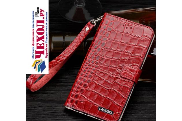 Фирменный роскошный эксклюзивный чехол с фактурной прошивкой рельефа кожи крокодила и визитницей красный для Huawei P10 Lite / Nova Lite. Только в нашем магазине. Количество ограничено