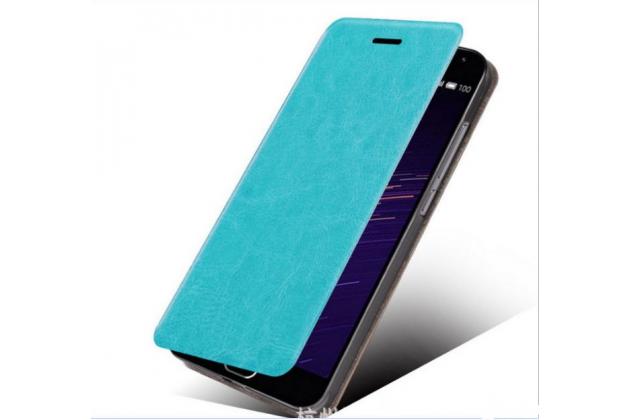 Фирменный чехол-книжка из качественной водоотталкивающей импортной кожи на жёсткой металлической основе для Huawei P10 Lite  голубой