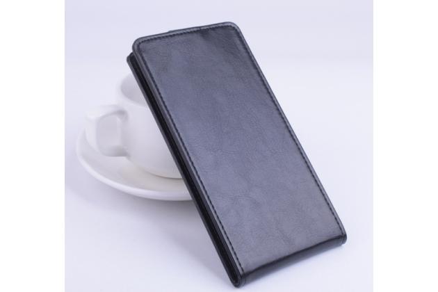 Фирменный оригинальный вертикальный откидной чехол-флип для Huawei P10 Lite  черный из натуральной кожи Prestige