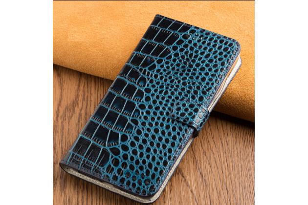 Фирменный роскошный эксклюзивный чехол с фактурной прошивкой рельефа кожи крокодила и визитницей синий для Huawei Honor 8 Lite / Huawei P8 Lite 2017 Edition. Только в нашем магазине.