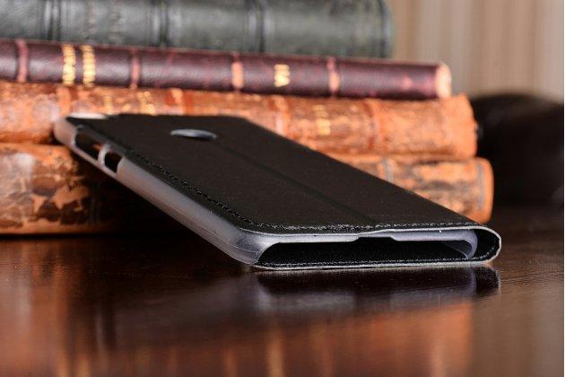 Фирменный оригинальный чехол-книжка для Huawei Honor 8 Lite / Huawei P8 Lite 2017 Edition  черный с окошком для входящих вызовов водоотталкивающий