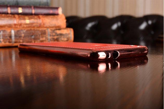 Фирменная премиальная элитная крышка-накладка на Huawei P8 Lite 2017 Edition 5.2 (PRA-AL00X)  красная из качественного силикона с дизайном под кожу