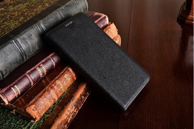 Фирменный премиальный чехол бизнес класса для Huawei Y3 2017 (CRO-U00 / CRO-L02) 5.0 с визитницей из качественной импортной кожи черный