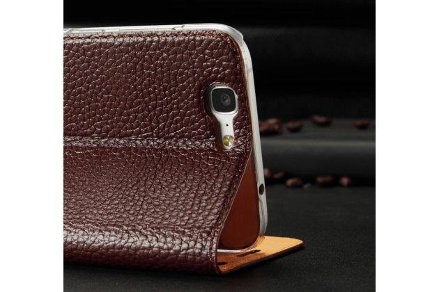 Фирменный роскошнный элитный премиальный чехол обтянутый импортной кожей с окошком вызова для Huawei Ascend G7 королевский коричневый