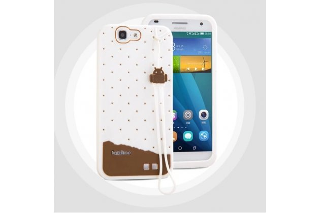 """Фирменная необычная уникальная полимерная мягкая задняя панель-чехол-накладка для Huawei Ascend G7 """"тематика Андроид в Белом Шоколаде"""""""