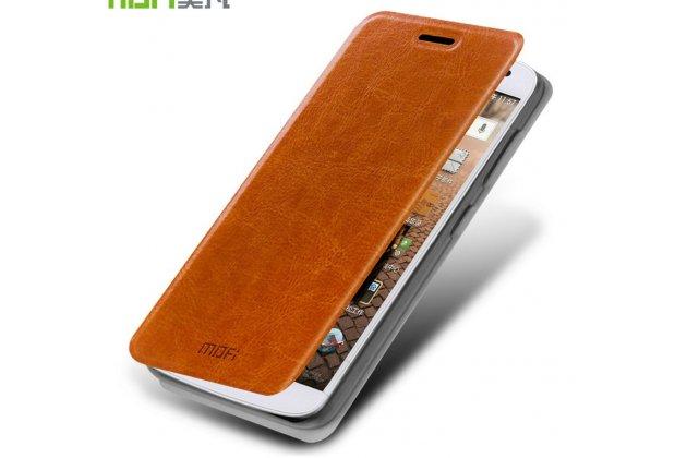 Фирменный чехол-книжка из качественной водоотталкивающей импортной кожи на жёсткой металлической основе для Huawei Ascend G7 коричневый
