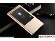 Фирменный чехол-книжка для Huawei Ascend G7  золотой с окошком для входящих вызовов из импортной кожи..
