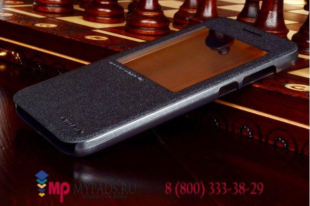 Фирменный оригинальный чехол-книжка для Huawei Ascend G7 черный кожаный с окошком для входящих вызовов
