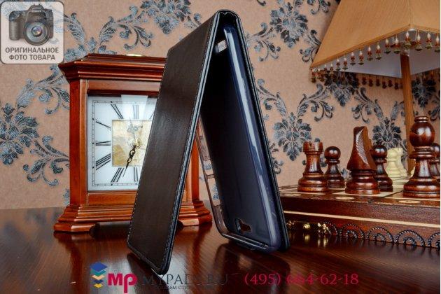 """Фирменный оригинальный вертикальный откидной чехол-флип для Huawei Ascend G7 черный из качественной импортной кожи """"Prestige"""" Италия"""