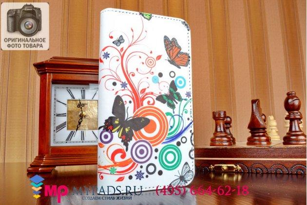 """Фирменный уникальный необычный чехол-книжка для Huawei Ascend G7 """"тематика цветок Сакуры"""""""