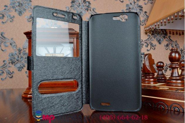 Фирменный оригинальный чехол-книжка для Huawei Ascend G7 черный кожаный с окошком для входящих вызовов и свайпом