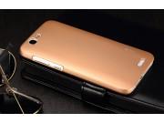 Фирменная задняя панель-крышка-накладка из тончайшего и прочного пластика для Huawei Ascend G7 золотая..