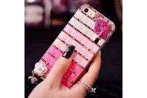 Фирменная роскошная элитная пластиковая задняя панель-накладка украшенная стразами кристалликами и декорированная элементами для Huawei Ascend G7 розовая