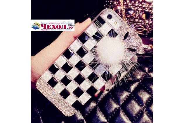 Фирменная роскошная элитная пластиковая задняя панель-накладка украшенная стразами кристалликами и декорированная элементами для Huawei Ascend G7 черно-белая