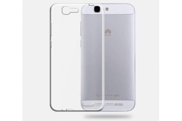 Фирменная ультра-тонкая полимерная из мягкого качественного силикона задняя панель-чехол-накладка для Huawei Ascend G7 белая