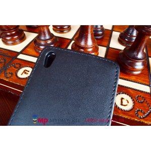 Фирменный оригинальный вертикальный откидной чехол-флип для Huawei Ascend P7/P7 Dual Sim L00/L10 черный кожаный