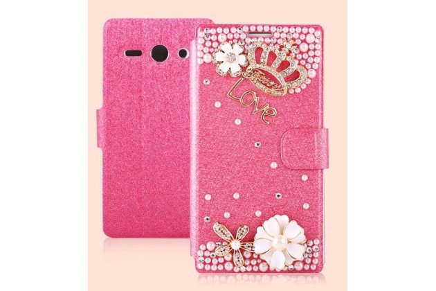 Фирменный роскошный чехол-книжка безумно красивый декорированный бусинками и кристаликами на Huawei Ascend Y530