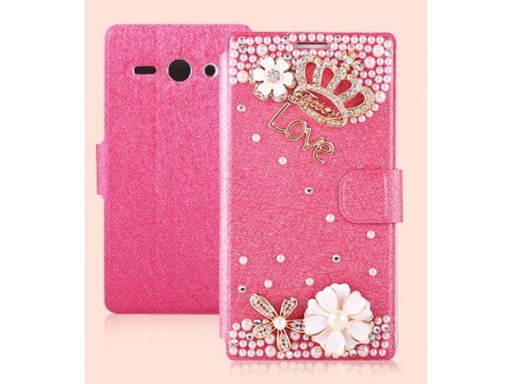 Фирменный роскошный чехол-книжка безумно красивый декорированный бусинками и кристаликами на Huawei Ascend Y53..