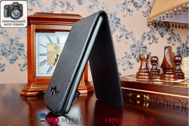 Фирменный оригинальный вертикальный откидной чехол-флип для Huawei Ascend Y530 черный кожаный