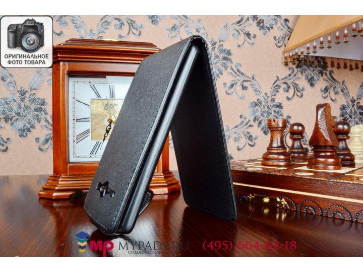 Фирменный оригинальный вертикальный откидной чехол-флип для Huawei Ascend Y530 черный кожаный..