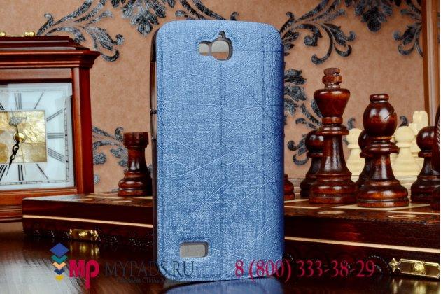 Фирменный чехол-книжка с окошком для входящих вызовов и свайпом для Huawei Honor Glory Play 3C черный