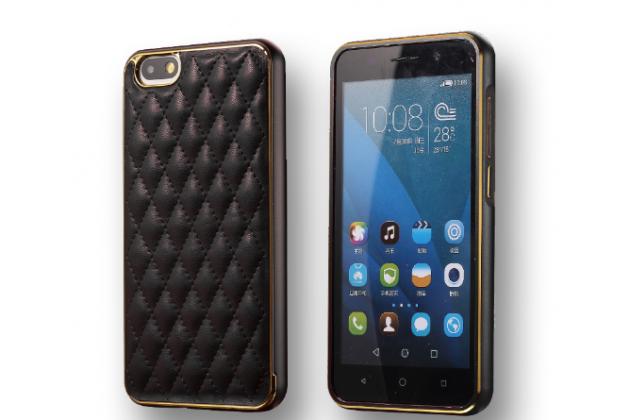 Фирменная роскошная элитная премиальная задняя панель-крышка на металлической основе обтянутая импортной кожей для Huawei Honor 4X королевский черный