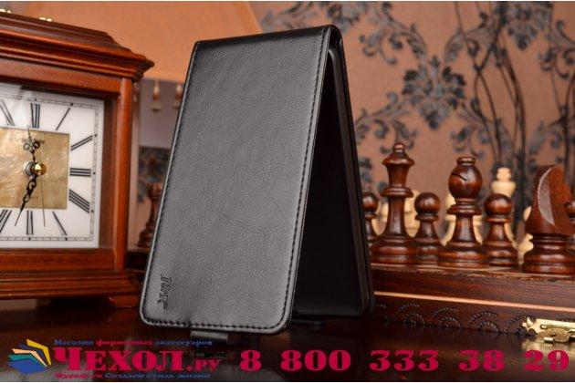 """Фирменный оригинальный вертикальный откидной чехол-флип для Huawei Honor 4X  черный из натуральной кожи """"Prestige"""" Италия"""