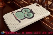 """Фирменный уникальный необычный чехол-книжка для Huawei Honor 4X """"тематика Сова"""""""
