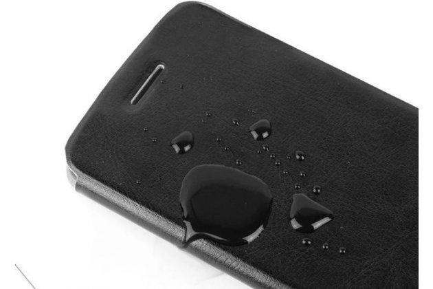 Фирменный чехол-книжка из качественной водоотталкивающей импортной кожи на жёсткой металлической основе для Huawei Honor 4C черный