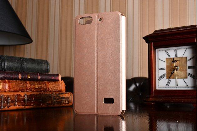 Фирменный чехол-книжка из качественной водоотталкивающей импортной кожи на жёсткой металлической основе для Huawei Honor 4C золотой