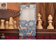 Фирменный чехол-книжка с безумно красивым расписным рисунком Оленя в цветах на Huawei Honor 4c с окошком для з..