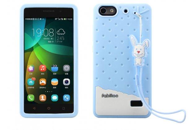 """Фирменная необычная уникальная полимерная мягкая задняя панель-чехол-накладка для Huawei Honor 4c  """"тематика Андроид в Черничном  Шоколаде"""""""