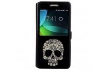 Фирменный чехол-книжка с безумно красивым расписным рисунком черепа на Huawei Honor 4c  с окошком для звонков