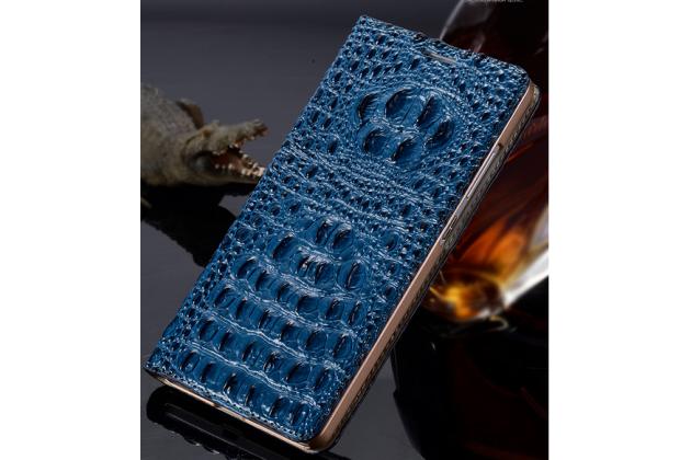 Фирменный роскошный эксклюзивный чехол с объёмным 3D изображением рельефа кожи крокодила синий для Huawei Honor 4c . Только в нашем магазине. Количество ограничено