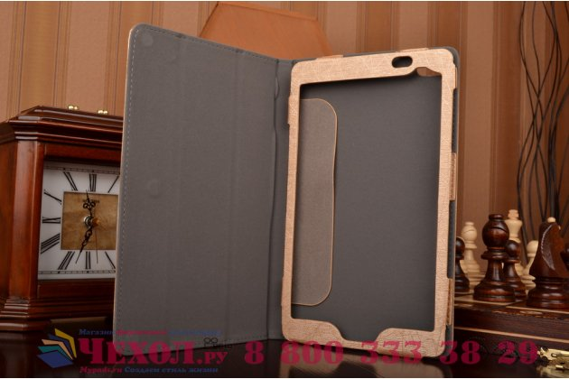 Фирменный чехол-футляр-книжка для Huawei MediaPad M2 8.0 LTE (M2-801W M2-803L) золотой кожаный
