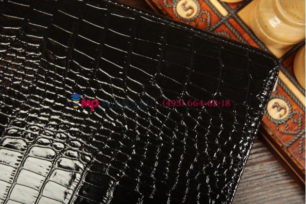 Фирменный чехол-обложка для Huawei Mediapad 10 LInk кожа крокодила черный